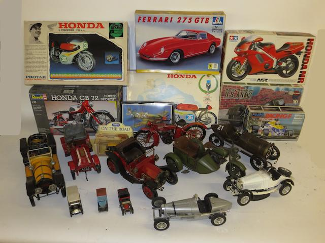 Assorted motorcar and motorcycle models,