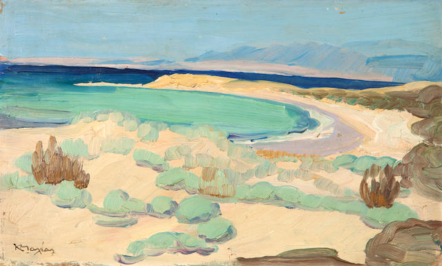 Constantinos Maleas (Greek, 1879-1928) Shore in Attica 31.5 x 52.5 cm.