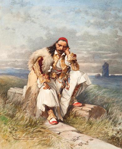 Cesare Felix Georges dell' Acqua (Italian, 1821-1904) Warrior 35.5 x 28 cm.