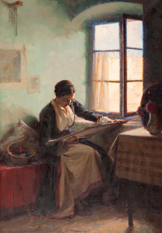 Apostolos Geralis (Greek, 1886-1983) Girl embroiding by the window 101 x 70 cm.