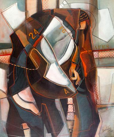 Tassos Syntelis (born 1943) Clochard in New York 152.5 x 127 cm.