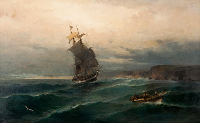 Constantinos Volanakis (Greek, 1837-1907) Heading into shore 71 x 111 cm.