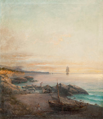 Ioannis Poulakas (Greek, 1864-1942) Fishermen at dawn 87 x 75 cm.