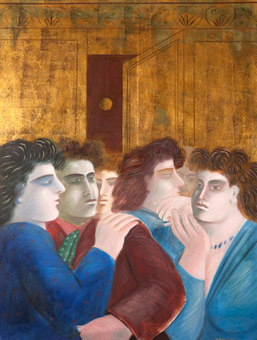 Alecos Fassianos (Greek, born 1935) Reunion dorée 116 x 88 cm.
