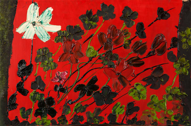 Thanos Tsingos (Greek, 1914-1965) Fleurs sur fond rouge 54 x 81 cm.