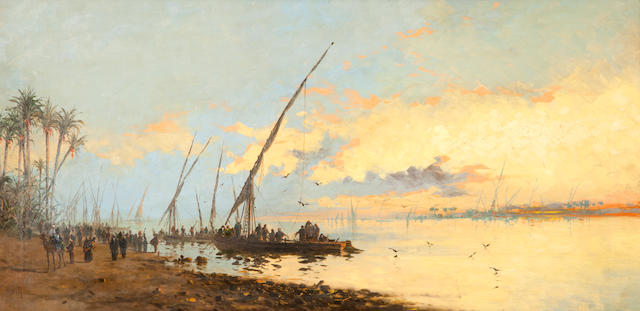 Spyridon Scarvelli (Greek, 1868-1942) Sunset in the Nile 47 x 95 cm.