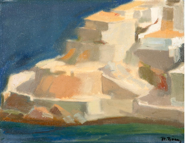 Panagiotis Tetsis (Greek, born 1925) View of Hydra 30 x 39 cm.