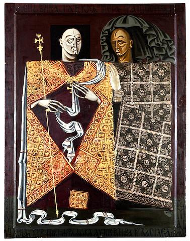 Vassilis Fotopoulos (Greek, 1934-2006) Nikiforos Fokas and cubicularius 105 x 81 cm.