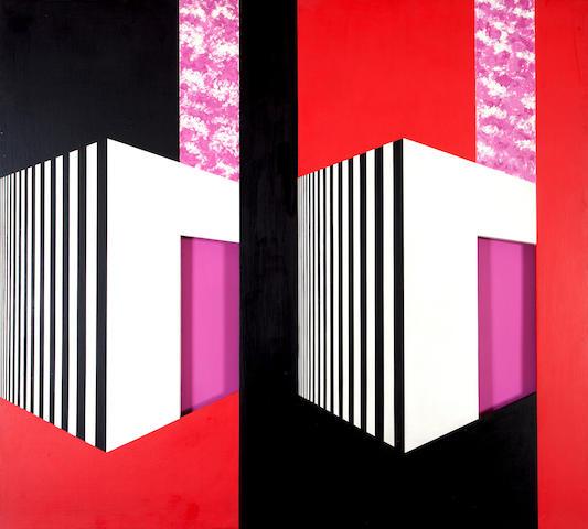 Opy Zouni (1941-2008) Double house 135 x 150 cm.