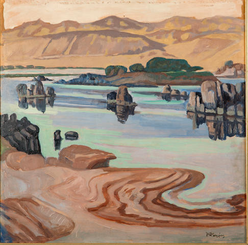 Constantinos Maleas (Greek, 1879-1928) The sources of the Nile 45 x 45 cm.