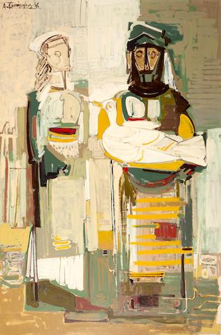 Alecos Condopoulos (Greek, 1905-1975) Femmes à l'oiseau 162 x 107 cm.