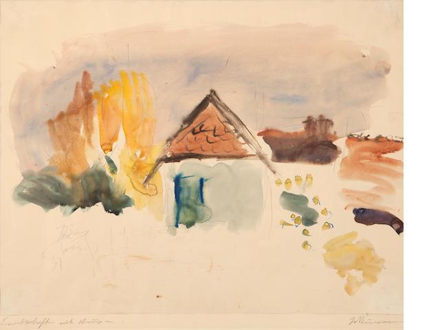 Georgios Bouzianis (Greek, 1885-1959) Landschaft mit Haus 51 x 64 cm.