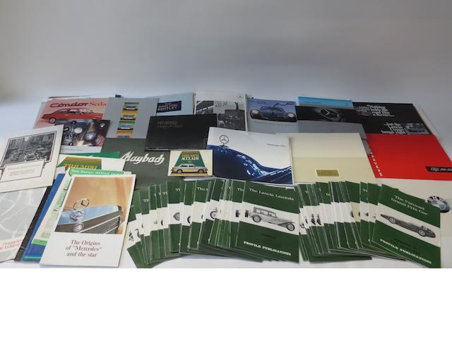 A quantity of assorted sales brochures,