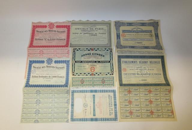Seven share certificates,