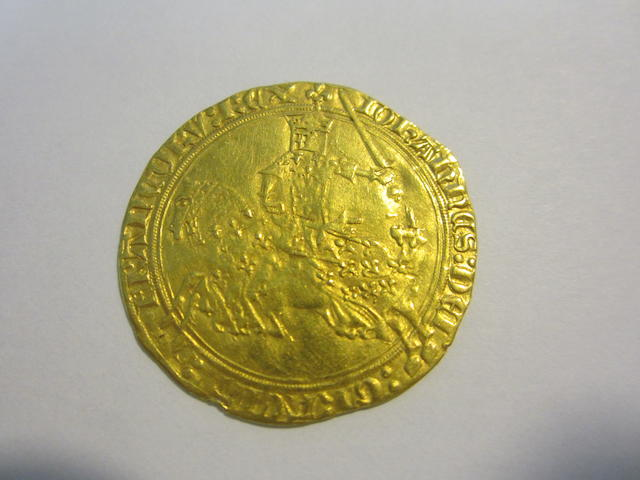 France, Jean II le Bon gold Franc a Cheval ND (1350-1364), the King galloping left with the sword high,