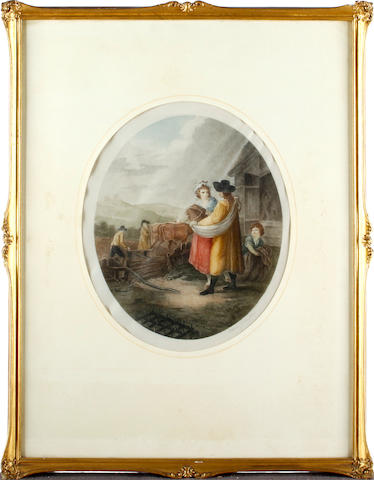 After Francesco Bartolozzi (British Feeding the chickens; and three others (a set of four oval coloured stipple engravings)