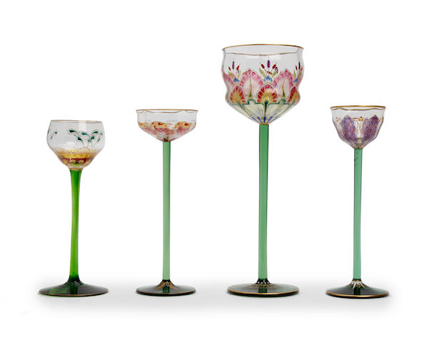A collection of four Austrian enamelled glasses Circa 1900