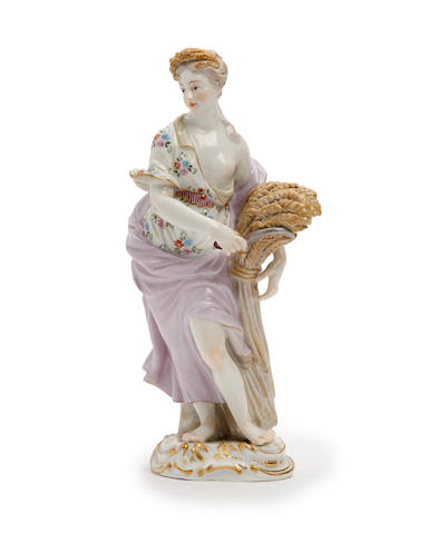 A Pair of Meissen figures allegorical of the Seasons Late 19th Century