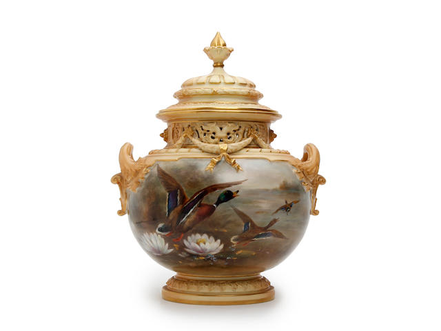 A Royal Worcester vase and cover, painted by James Stinton Dated 1908