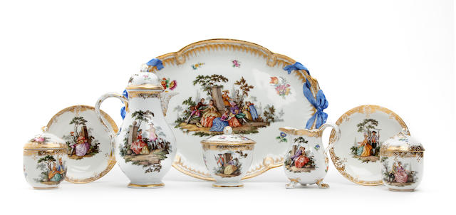 A Meissen style composite cabaret set Late 19th Century