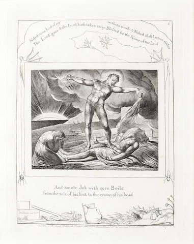 William Blake (British, 1757-1827) And Smote Job with sore boils from the sole of his foot to the crown of his head, from Illustrations for the Book of Job Engraving, 1825, on wove, with wide margins, from the edition of 215, published by the artist and J.Linnell, London, 218 x 170mm (8 5/8 x 6 5/8in)(PL)