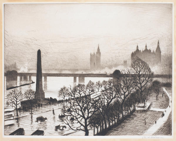 Christopher Richard Wynne Nevinson A.R.A. (British, 1889-1946) The Houses of Parliament from the Embankment (Guichard 50) Drypoint, 1926, a rich, velvety impression, signed in pencil, from the edition of 75, with margins, 270 x 348mm (10 5/8 x 13 5/8in) (PL)