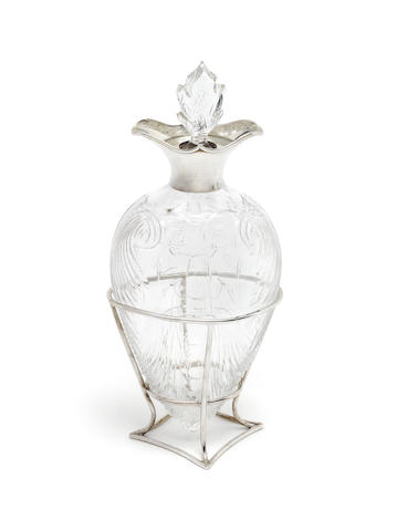 A Victorian silver mounted glass decanter and stand by John Thomas Heath & John Hartshorne Middleton, London 1896