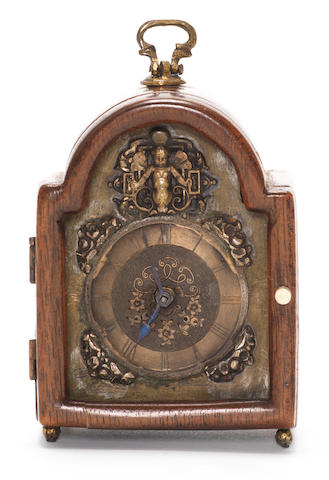 An early pocket watch set within later mahogany caseCirca 1692