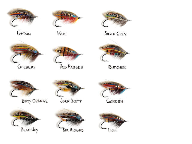 A display of 12 named gut-eyed salmon flies