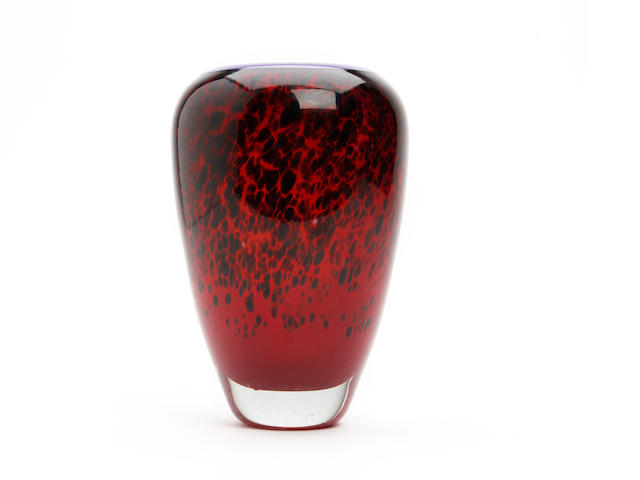A Sonja Blomdahl experimental 'leopard' print glass vase Dated 1986