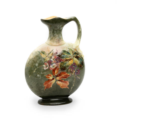 A Bretby Barbotine ware flask, signed G.L. Parkinson  Circa 1880-1900