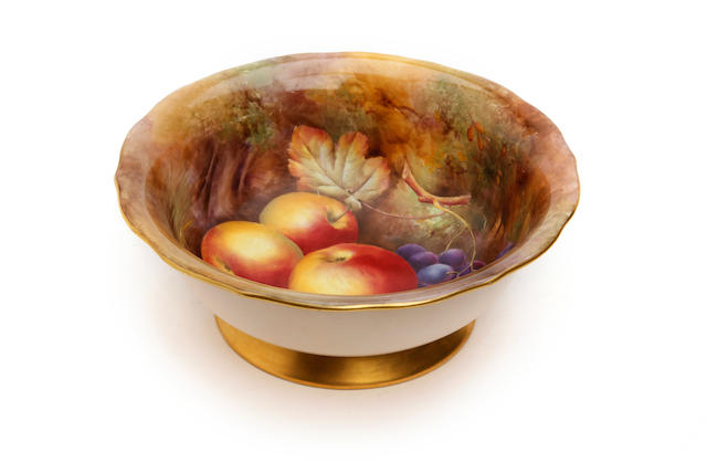 A Royal Worcester fruit painted bowl, painted by Horace Price Dated 1938