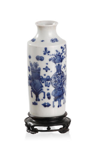 A Chinese blue-and-white 'bogu' bottle-shaped vase