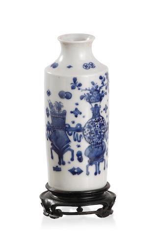 A Chinese blue-and-white 'bogu' bottle-shaped vase