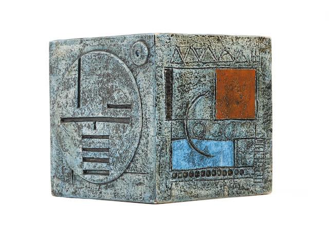 A Troika cube vase, by Linda Taylor  Circa 1975