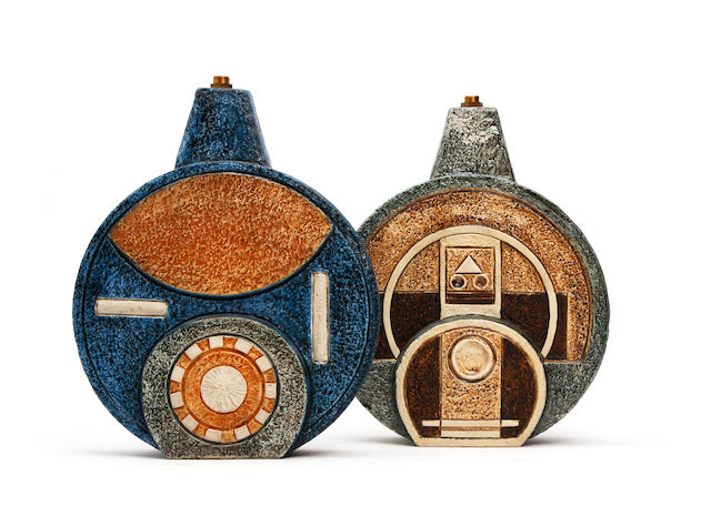 Two Troika wheel form lamp bases, by Alison Brigden and Penny Black Circa 1965-77