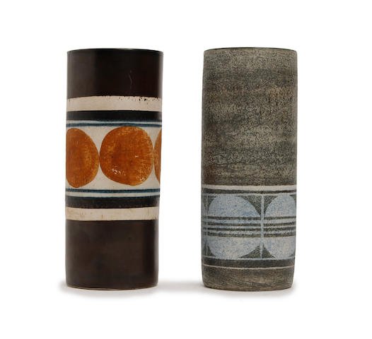 Two small Troika cylindrical vases, by Louise Jinks and Anne Lewis   Circa 1969-81