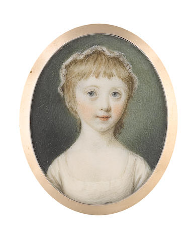 Samuel Shelley (British, 1750-1808) Mary, 3rd Countess of Courtown (1769-1823), when Lady Mary Montagu Scott, wearing white dress, her blonde hair worn short beneath a frilled lace cap