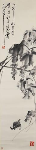 Ding Yanyong (1902-1978) A Bird Under the Grape Vine