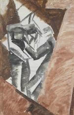 David Bomberg (British, 1890-1957) Study for 'Bargees' 53.5 x 35 cm. (21 x 13 3/4 in.) The work is double sided with 'Study for Bargees II' (verso)