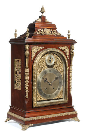 A Victorian mahogany and gilt metal mounted quarter chiming bracket clock