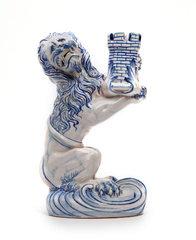 A faience lion candlestick, attributed to Gallé Circa 1895