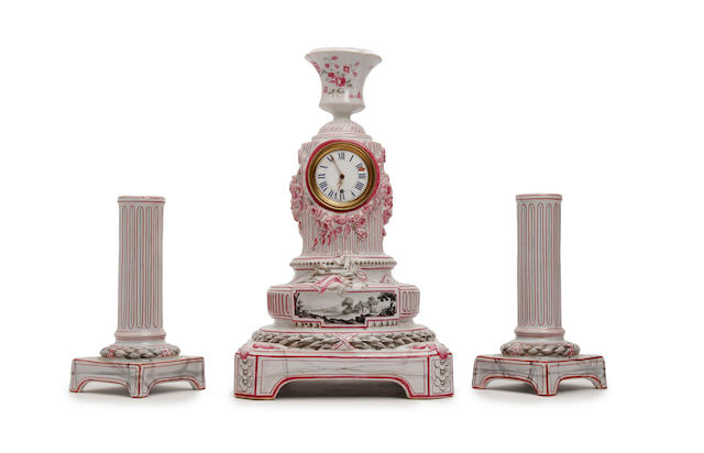 A Gallé faience clock garniture Late 19th/early 20th Century