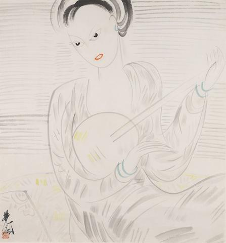 Lin Fengmian (1900-1991) Lady Playing Guitar