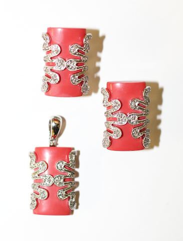 A simulated coral and diamond pendant with matching earclips