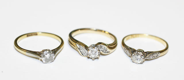 Three single stone diamond rings,