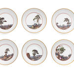 Six matching Meissen teabowls and saucers