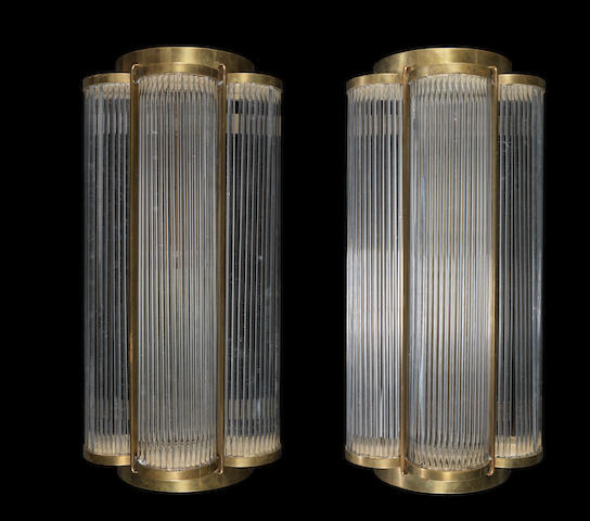 European A Pair of Stylish Art Deco Brass and Glass Rod Wall Lights, circa 1925
