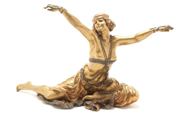 Claire Jeanne Roberte Colinet 'Danseuse de Thèbes' a Large Patinated Bronze Figure, circa 1925