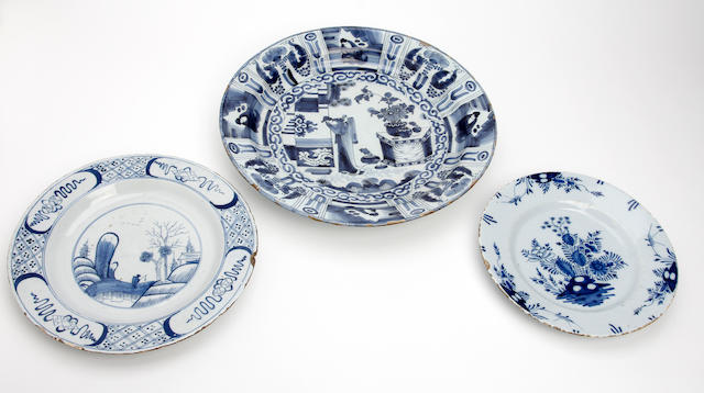 A Delft plate, English Mid-18th Century